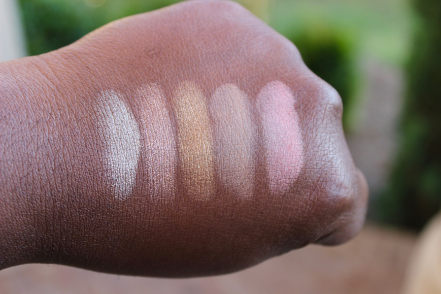 BECCA afterglow palette on dark skin swatches